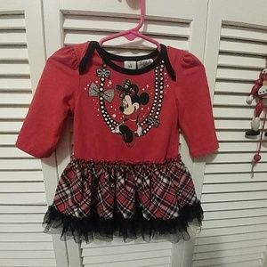 DISNEY BABY MINNI MOUSE PLAID CHRISTMAS DRESS 6/9M